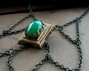 Spell Book Webbed Chain Necklace - Bib Necklace - Vintage Art Nouveau Necklace - Bohemian Statement Jewelry