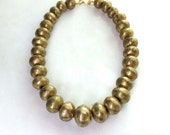 Very Big, Very Bold Antique Brass Oversized Nigerian Bead Focal Necklace...