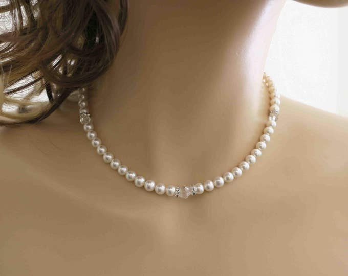 One Strand Swarovski Pearl Necklace