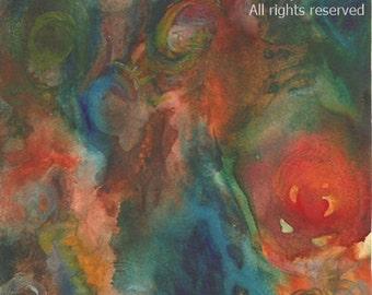 Watercolor Original Abstract Painting Deep Rich Hues