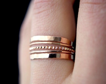 NEW Rose Gold Lined stacking ring set of 5, rose gold stack ring, rose gold stacking ring, lined ring, rose gold bark ring, set of 5