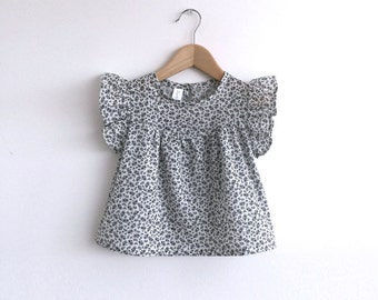 girls black and white floral cotton blouse