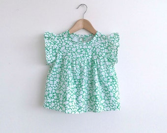 girls green floral cotton blouse
