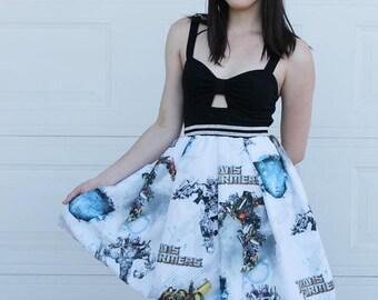 S  Transformers Skirt, Handmade TRANSFORMERS Skirt, DIY 80s skirt, 80s Nostalgia, Geek Clothing, Nerd skirt, Transformers clothing