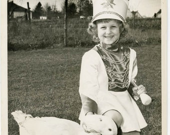 vintage photo Young majorette Little Girl Costume w Baton Kneels to Pet her Duck