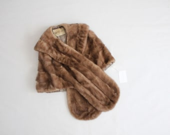 1950s fur stole | brown fur stole | animal fur stole