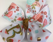 Floral Monogram, Initial Hair Bows, Gold Metallic Aqua, Salmon Hairbow, Personalized Gift, Monogrammed Girls, Medium Size, Embroidered, Mono