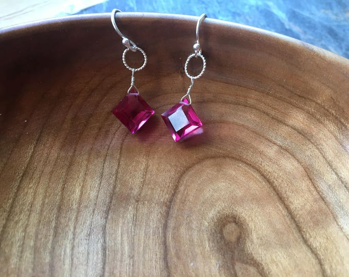 Pink Quartz Diamond Shaped Earrings in Sterling Silver