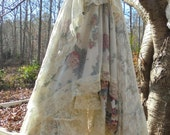 Lace floral  dress wedding tulle romantic boho outdoor bride small  by vintage opulence on Etsy