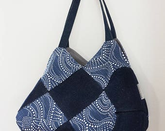 LILY (tote, modern boho chic, cotton print, denim)