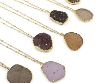 Oval Druzy Agate Long Necklace // Beautiful Boho Gemstone Necklace // Sparkly Pendant Drusy Stone Necklace