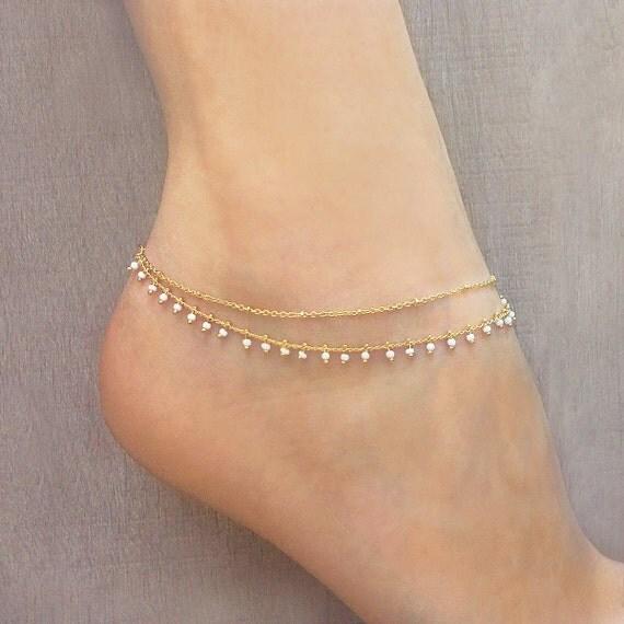 gold double beaded chain anklet summer boho ankle bracelet