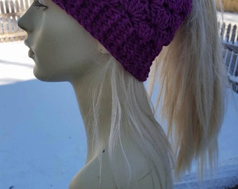 Shell Stitch Ponytail Hat Pattern