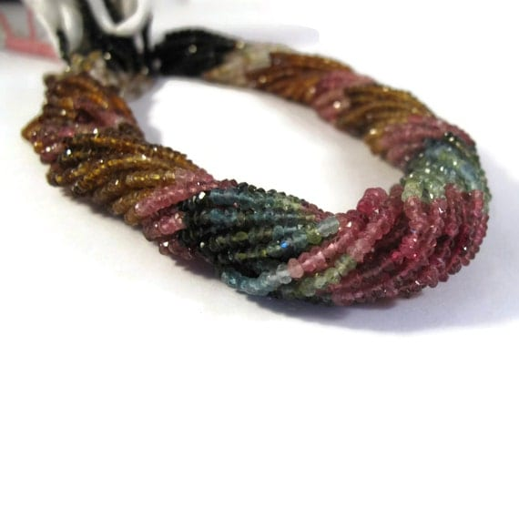 Tiny Beauties, 2mm - 3mm Multi Tourmaline Beads, Faceted Rondelles, Natural Gemstones, Over 200 Beads, 13.5 Inch Strand (R-Tou1)