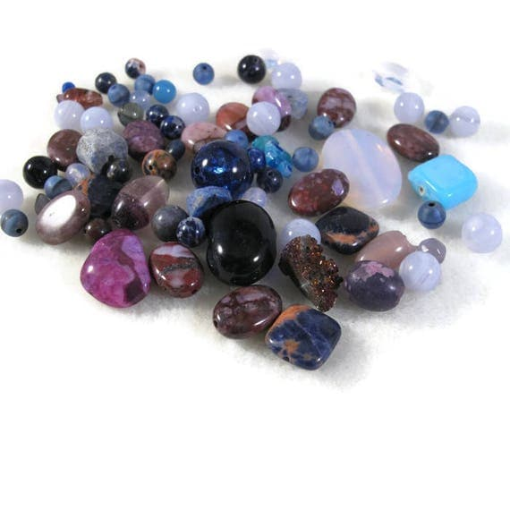 Gemstone Bead Mix, Purple & Pink Gemstone Grab Bag, 75 Beads for Making Jewelry, Assorted Shapes and Sizes (L-Mix7a)
