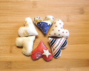 July 4th Patriotic Heart Ornament Holiday Decorations Primitive Bowl Fillers