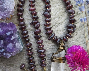 Raw Clear Quartz Crystal Choker Necklace - Garnet Red January Birthstone - Brass Chain - Boho Hippie Festival - Good Vibes Layering Jewelry