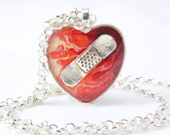 Fiery Heart, Mended Heart, Flames Necklace, Red Jewelry, Bandaid Necklace, Broken Heart Jewelry, Divorce Gift, Beauty from Ashes, Restore