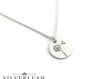 Dandelion Necklace - Hand Stamped Sterling Silver Jewelry