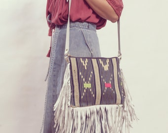 Boho Fringe Crossbody, Boho Fringe Bag, Tribal Crossbody, White Leather Bag, Boho Chic Bag, Fringe Purse, Leather Fringe Bag, Gypsy Boho Bag