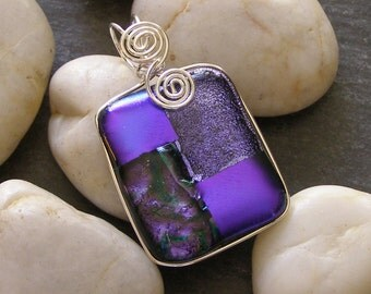 Purple Dichroic Fused Glass Pendant with Sterling Silver