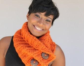 Cowl Scarf Crocheted in Burnt Orange
