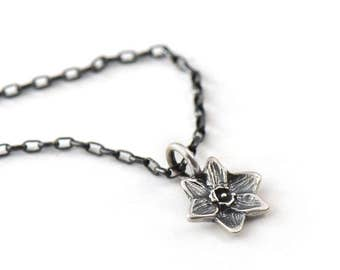 Handmade Small Spring Daffodil Sterling Silver Charm