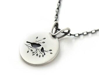 Handmade Small Round Summer Songbird Duet Sterling Silver Pendant