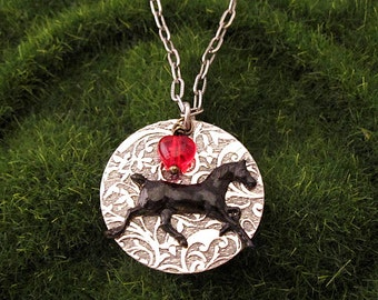 HORSE JEWELRY NECKLACE Black Horse Equestrian Jewelry. Horse Lovers Cowgirls Country Western Quarter Horse Pony Colt Black Beauty Silhouette
