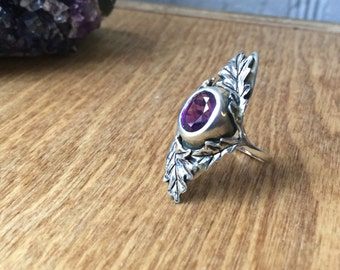 Amethyst and Sterling Silver- The Oak Leaf Ring