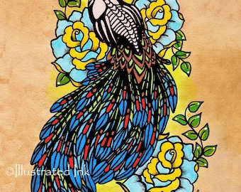 Day of the Dead PEACOCK Tattoo Art Print 5 x 7, 8 x 10 or 11 x 14