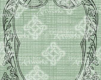 Digital Download, Shape of a Shield, Flourishes, Transparent png, digi stamp, Antique Vintage Illustration, Frame Border