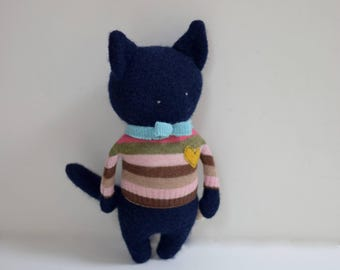 handmade cat doll Critter blue stuffed cat ooak doll unisex Soft sculpture upcycled Merino wool sweater plush eco baby gift bubynoa critters
