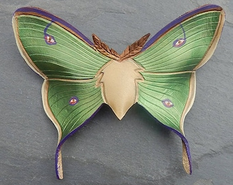 Earthy Leather Luna Moth Hair Slide or Barrette in Iridescent Olive Green, Bronze and Violet - Your Choice of French Clip or Wire Hair Stick
