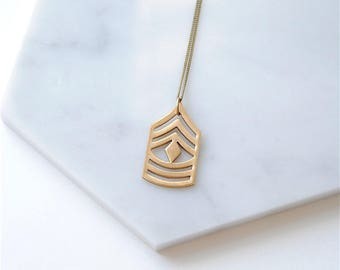 Military Chevron Necklace. Geometric Jewelry For Minimalist. US Marine Corps First Sergeant Insignia. Gift for Husband. For Her. Army Wife.