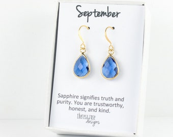 September Sapphire Birthstone Gold Earrings, Sapphire Gold Dangle Earrings, Sapphire Teardrop Earrings, September Birthday Gift