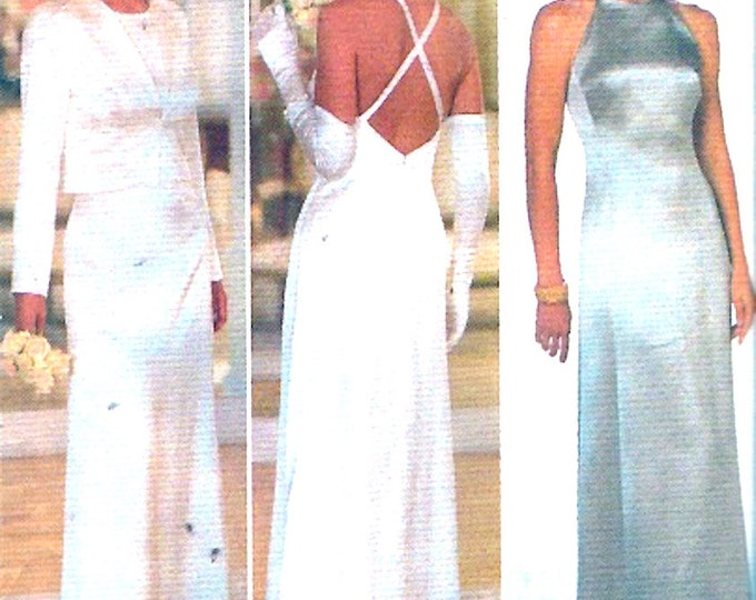 Chic Hollywood style Evening dress Jacket sewing pattern Designer Nicole Miller New years Party Wedding Brides Sz 6 to 10 UNCUT