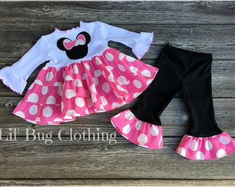 Bubble Gum Pink Minnie Mouse Girl Outfit, Minnie Mouse Jumbo Dot Tiered Top And Pant Outfit,  Pink Minnie Mouse Birthday Party outfit