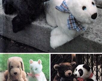 Vintage 1980s Stuffed Animals Pattern, Bears, Stuffed Dogs, Seals, Panda, Cat McCalls 8264 1980s Craft Pattern UNCUT