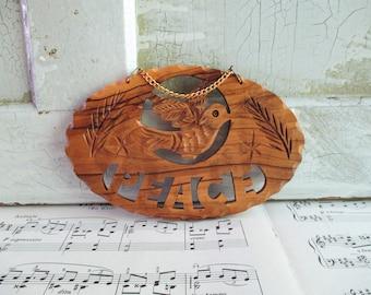 Vintage Carved Wooden Peace Plaque
