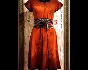 Desert Sunset Dress - 3 sizes - handmade and dip dyed organic cotton pique knit cotton dress + linen piping trim,  eco friendly womens dress