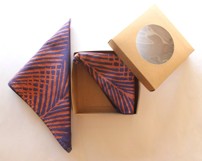 Copper and Eggplant Palm Leaf Cloth Napkins