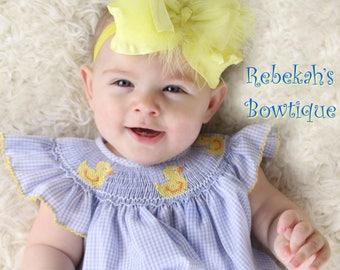 Yellow baby headband, pastel baby headband, Infant headbands, baby girl headbands, hair bows for girls, marabou feather headband, infant bow