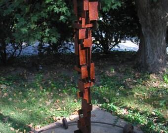 Bird Feeder Modern Build series bird feeder No. 23 in patina steel with white enamel steel roof
