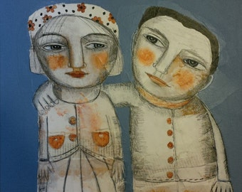 mixed media collage painting original couple love