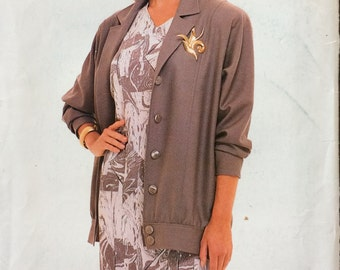 Vintage Sewing Pattern Butterick 5815 Misses' Jackets and Dress Size 20-24 Bust 42-46 inches  Uncut Complete Plus Size