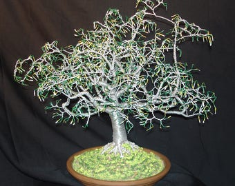 "Summer ""1"" with full color leaves. Wire tree sculpture"