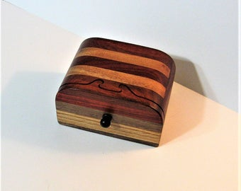 Puzzle Treasure Box With A Secret Drawer Made Of Four Woods