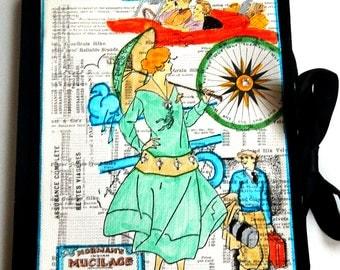 Sale handmade travel journal / sketchbook/ mixed media journal /vintage journal/ travel diary / woman/ art journal /smashbook / 1920s theme