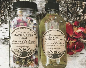 Botanical Bath + Body Set | Natural Bath and Body Gift | Bath Salts | Luxury Body Oil | Gift for Her | Mother's Day Gift | Floral Bath Salts